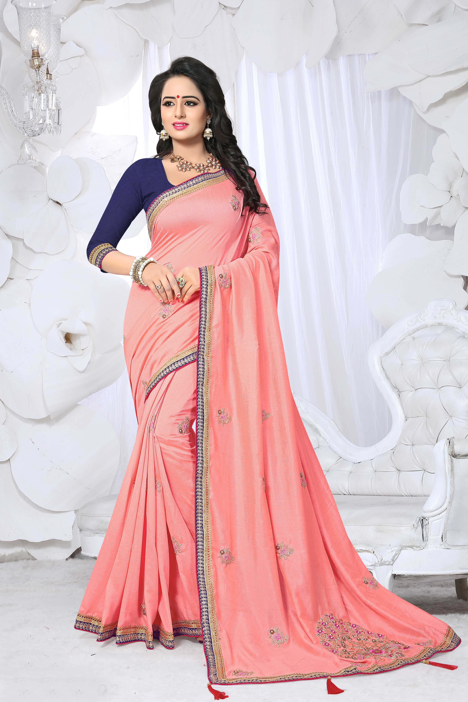 Satin Designer Embroidery Saree for Indian Ethnic Wedding Party wear Sari SS