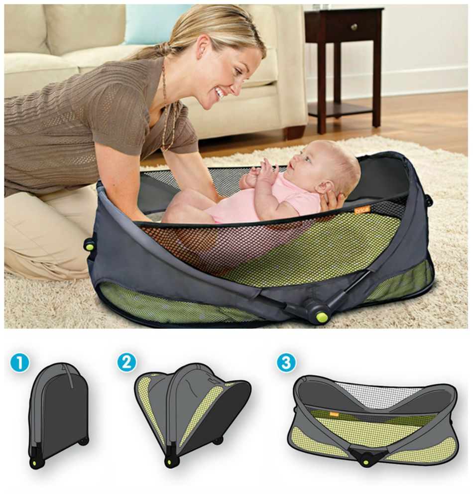Brica Portable Folding Travel Bassinet Baby Bed On The Go Infant