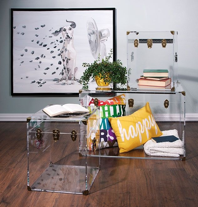 Serenity Now Ikea Shopping Trip And Home Decor Ideas: Preston Acrylic Coffee Table And Accent Trunks
