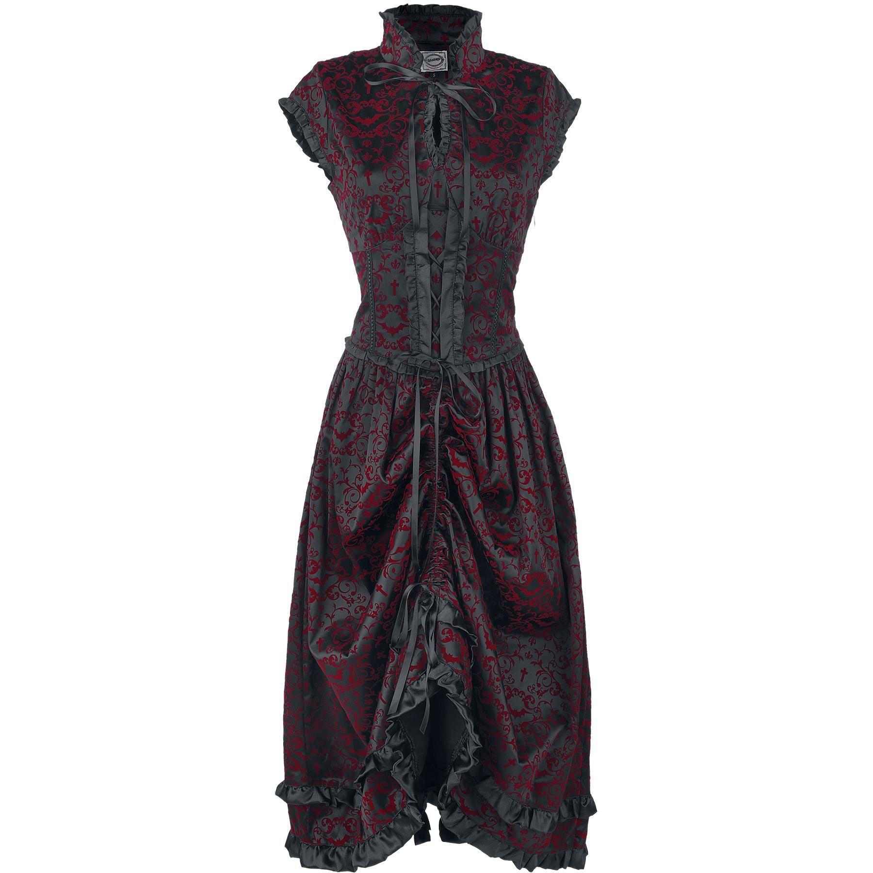 """Banned Pitkä mekko, Naiset """"Gothic Dress"""" musta-punainen • Osta nyt netistä •…"""