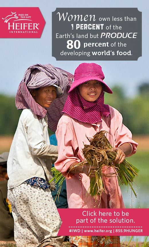 Although women produce 80% of the developing world's food, they own less than 1% of the Earth's land. Help change that. #IWD