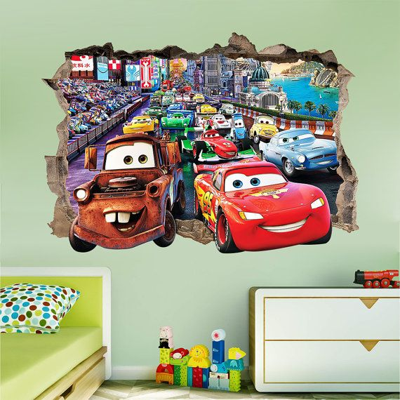 Disney cars 3d wall sticker smashed bedroom kids decor for Sticker mural 3d