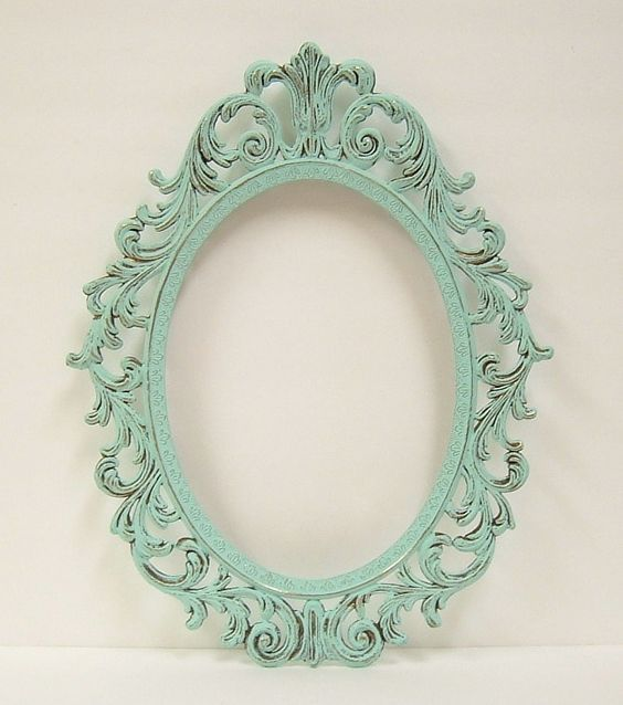 Shabby Chic Frames Mint Green Oval Picture Frame Vintage Baroque ...
