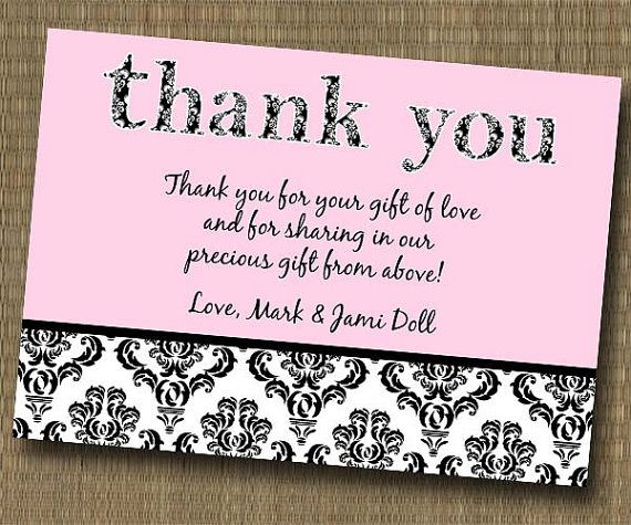 Thank You Wording For Wedding Gift: Damask Shabby Chic Thank You Card
