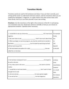 Transition Words Worksheet For 7th 10th Grade Transition Words