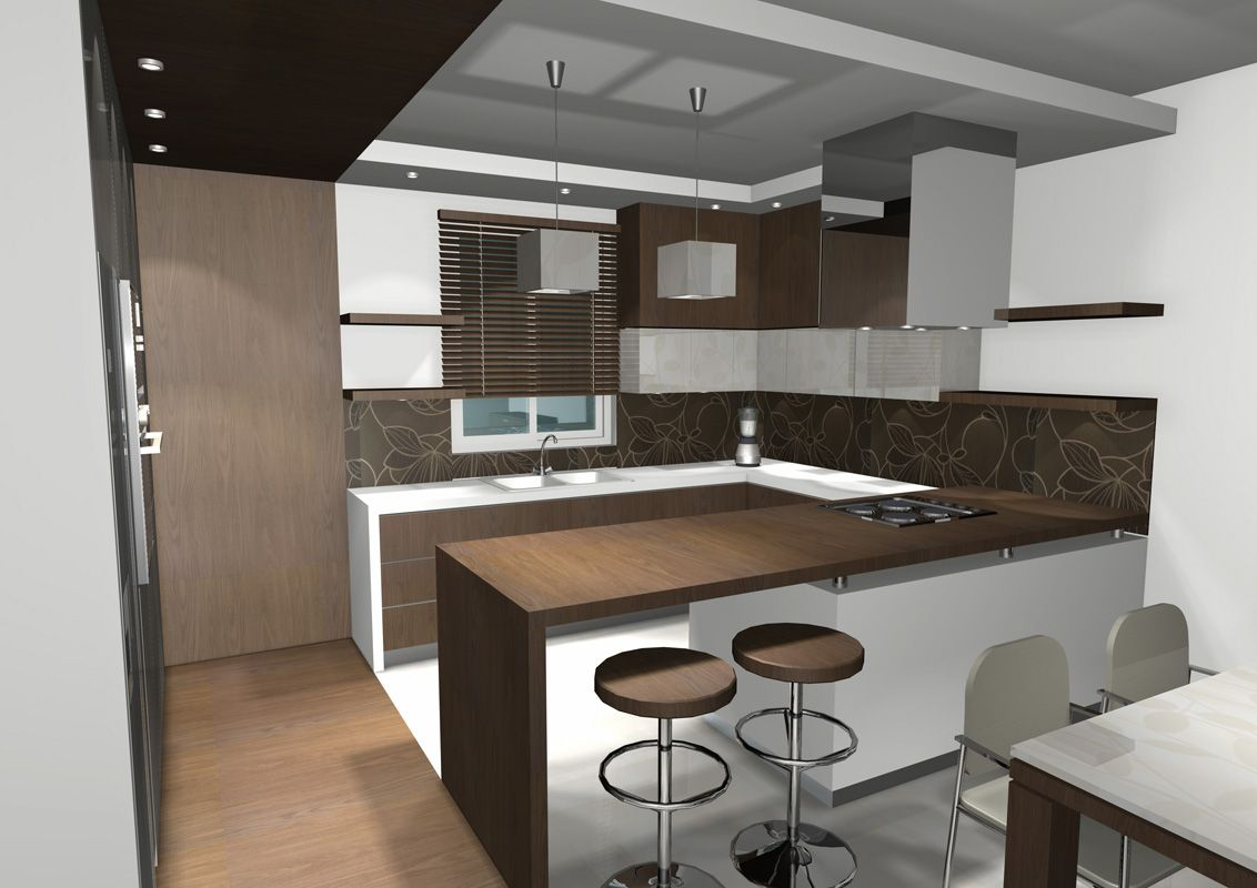 Small Open Plan Kitchen Ideas Part - 15: Small Kitchen Ideas For Dark Wood Usage