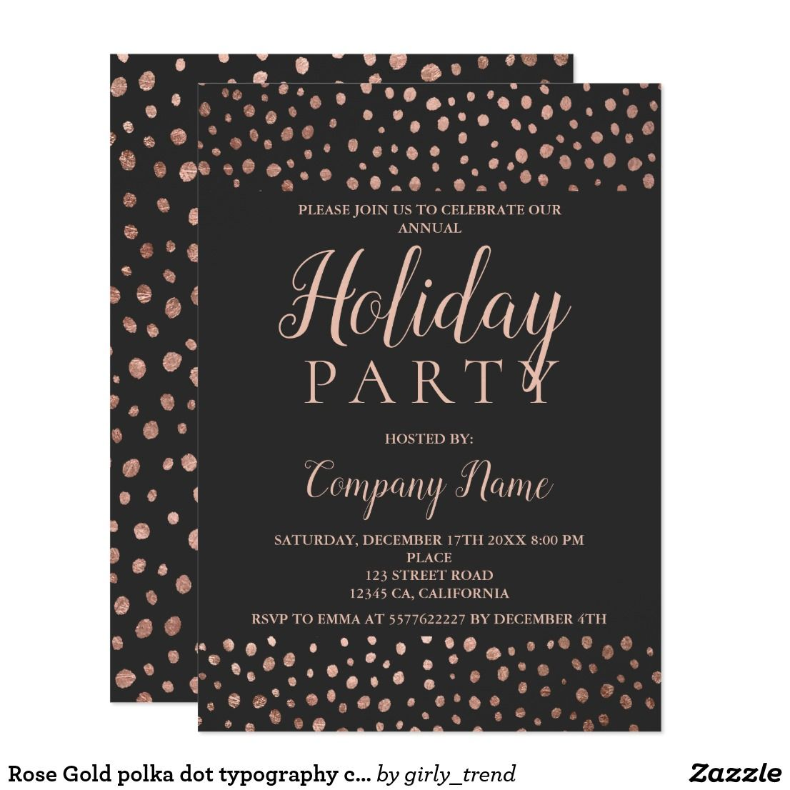 Rose Gold Polka Dot Typography Corporate Christmas Card Party