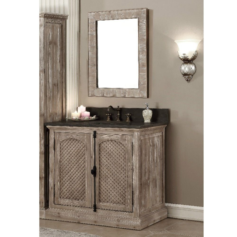 diy distressed bathroom vanity%0A Infurniture Rustic Style   inch Single Sink Driftwood Finished Bathroom  Vanity with Matching Wall Mirror