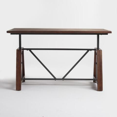 with an amply sized wooden surface, our adjustable-height table is a