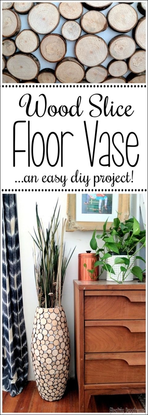 Diy Wood Slice Tall Floor Vase Wood Slices Tall Floor