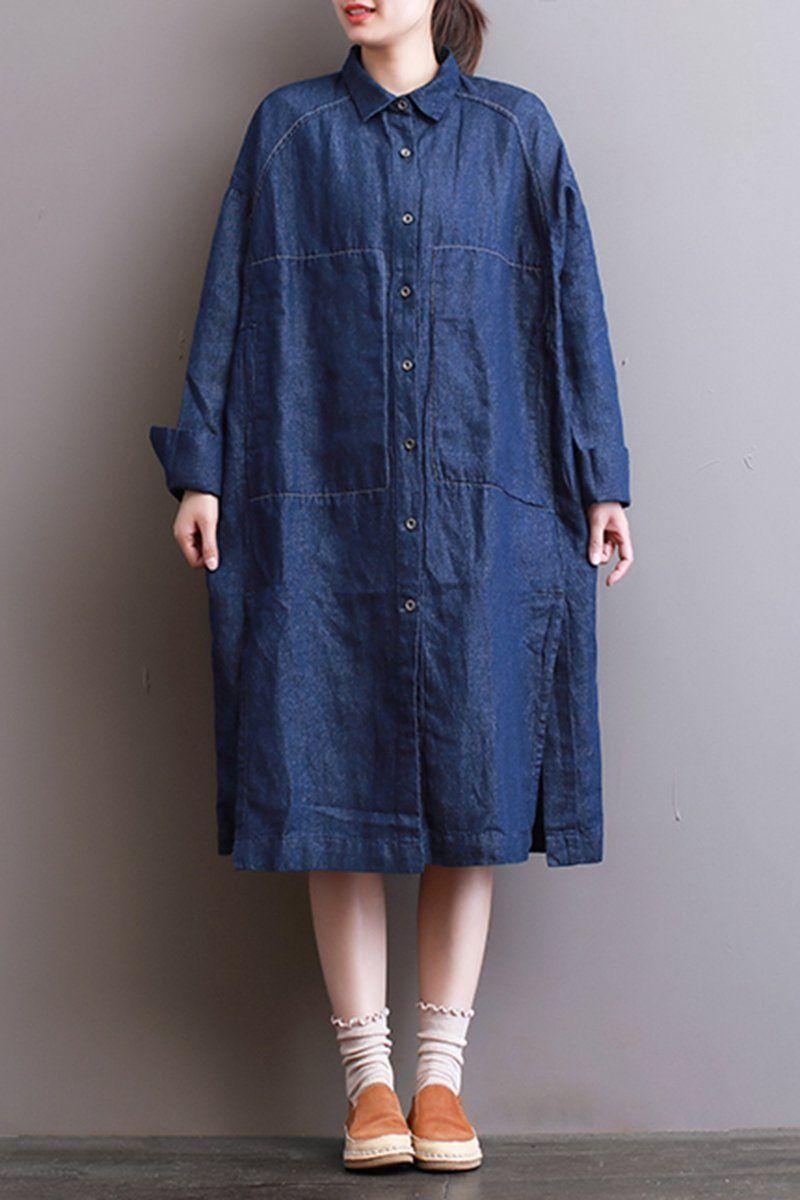 61986887e4 FantasyLinen Women Denim Shirt Dress