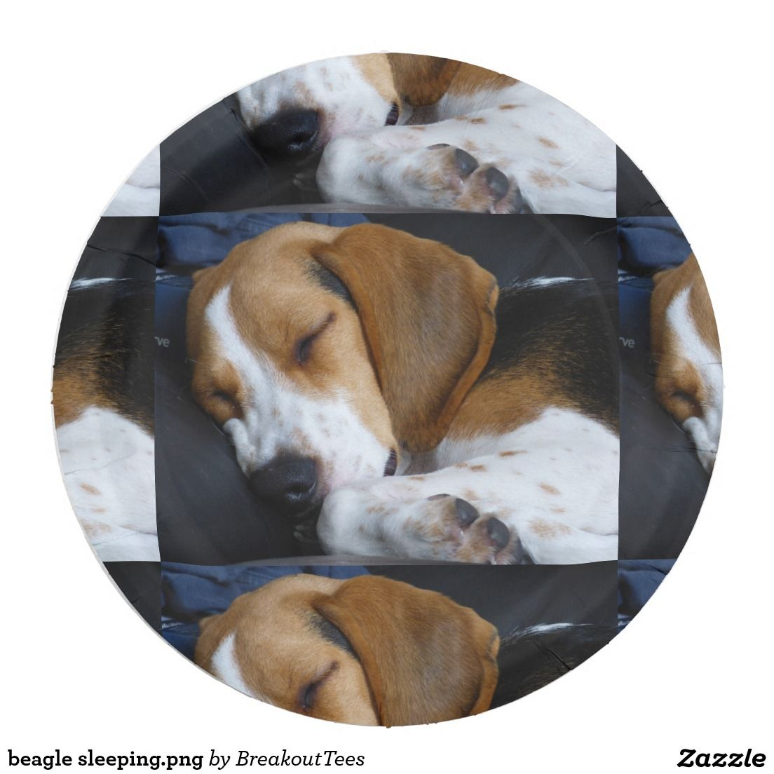 beagle sleeping.png paper plate