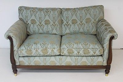 Sky Blue Floral Cotton Solid Oak 2 Seater Sofa Couch Settee Art Deco Style Floral Sofa Settee Couch 2 Seater Sofa