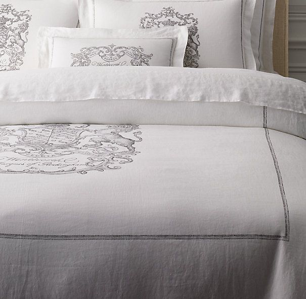 Wentworth Crest Vintage Washed Belgian Linen Duvet Cover Belgian Linen Duvet Covers Linen Duvet Covers Belgian Linen Bedding