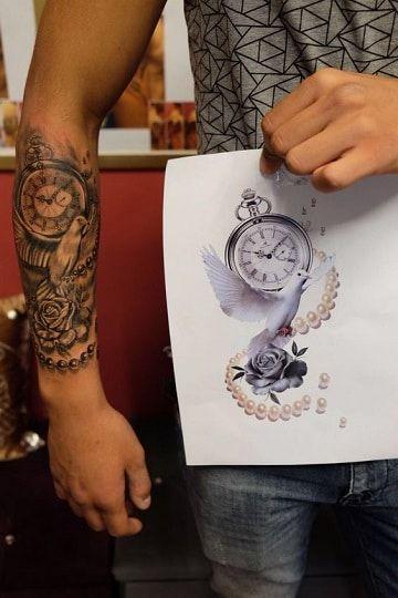 Diseños originales de tatuajes de rosas y reloj Tatuajes de rosas - tatuajes de rosas