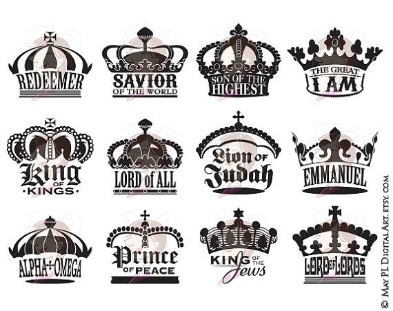 Christmas Xmas Crowns Royal Clipart Black Silhouette Digital Stamp Easter Digi Various Names Title Of Jesus Christ Collection 10543