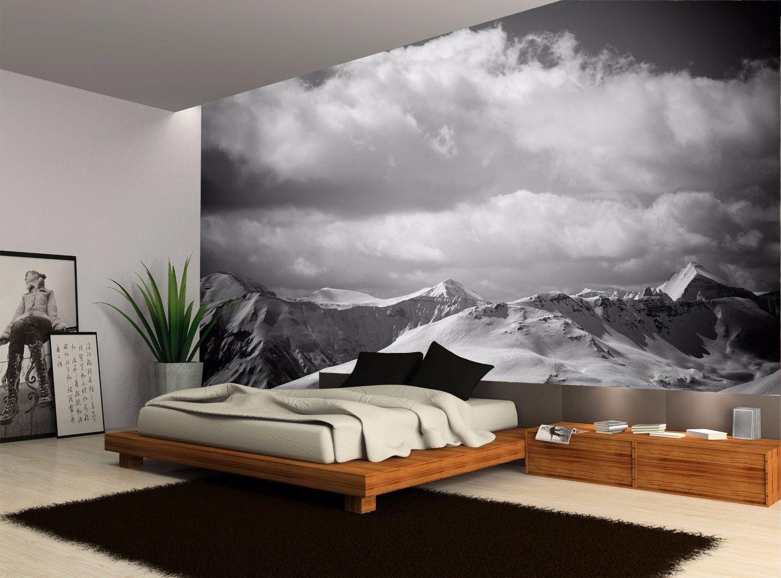 Black And White Mountain Landscape Wall Mural Photo Wallpaper Giant Wall Decor Ebay Stena Dizajn Dizajn Doma Dom