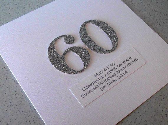 Handmade 60th diamond wedding anniversary card personalized with