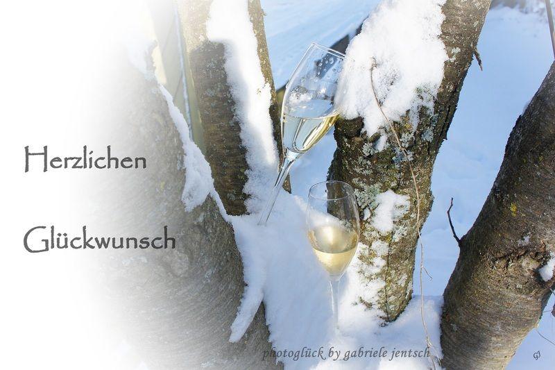Karte Zum Geburtstag Sekt Im Schnee Von Photogluck Auf Dawanda Com