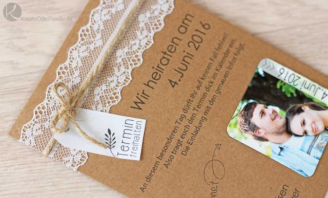 Card Vintage Kraftpapier Spitze Rustikal Rustic Verträumt DIY Selber Machen  Magnet Einladung Hochzeit Wedding Save The Date Karten