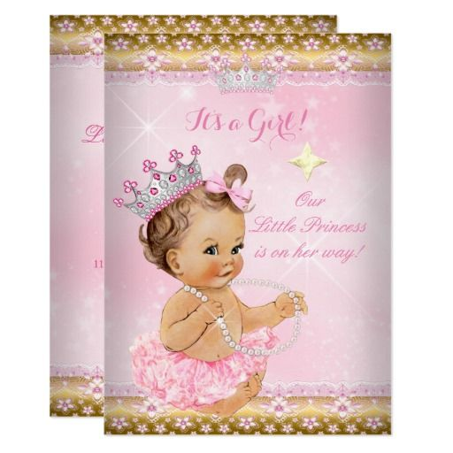 princess baby shower pink tutu gold tiara brunette card | pink, Baby shower invitations