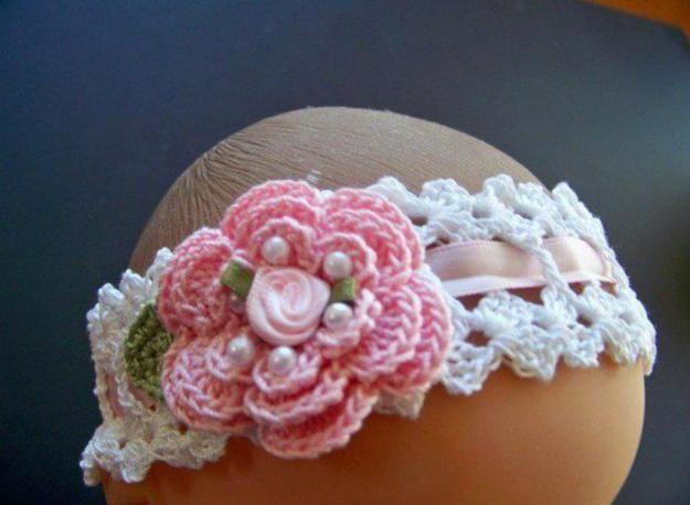 Cintillos tejidos a crochet para bebé - Imagui | Tejidos para bebe ...