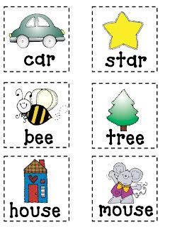 Clever image inside rhyming flash cards printable