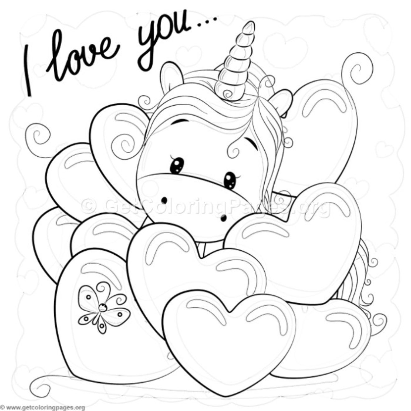 Valentine i love you unicorn coloring pages getcoloringpages org