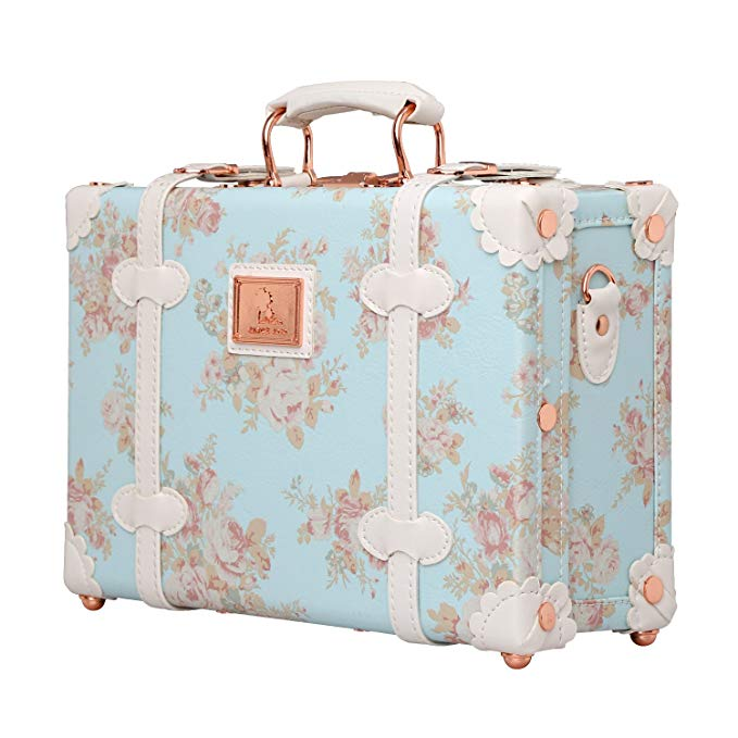 Unitravel Floral Women Suitcase Small Vintage Luggage Carry on Bag with Straps 12 inch