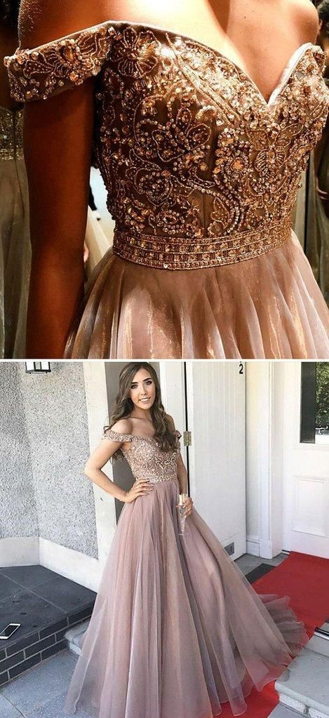 Cap Sleeves Sparkly V Back A-line Formal Long Beaded Prom Dresses ... 547de27c5463