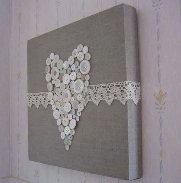 Button Heart with lace trim   Crafts ~ Buttons