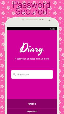 Screenshot Image Diary with lock, Diary app
