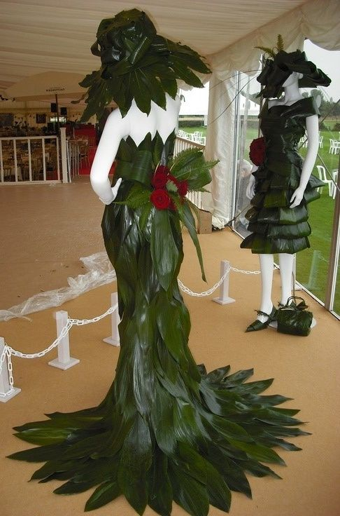 Tropical Wear From Aspidistra Leaves Dresses Flowers