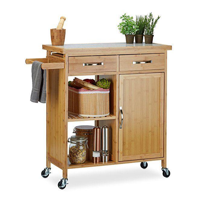 Relaxdays Küchenwagen Holz, Bambus, 4 Rollen, Arbeitsplatte aus - küchenwagen mit schubladen