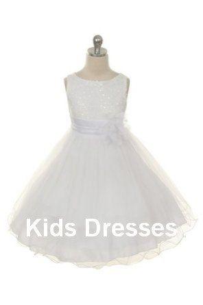 Blumenmädchen Kleid Kommunion Kleid Weiß Pailletten Von Kidsdresses