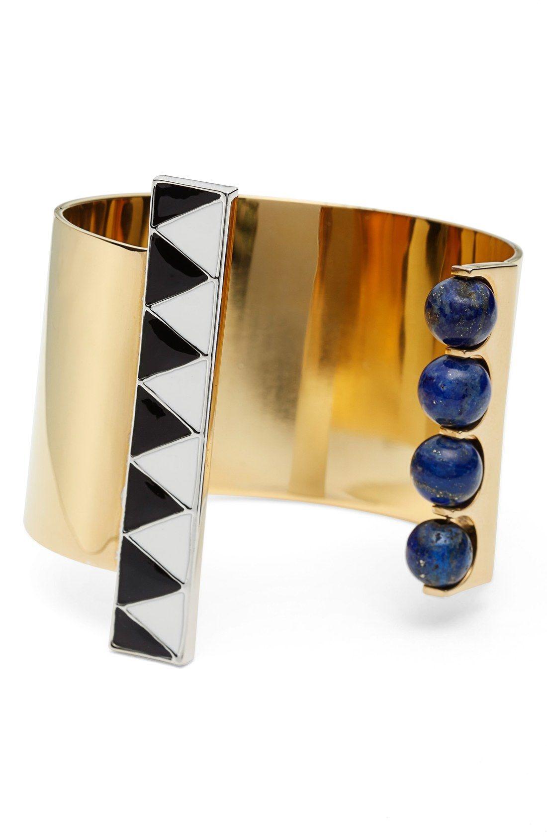 URiBE 'Walter' Lapis & Enamel Open Cuff Bracelet
