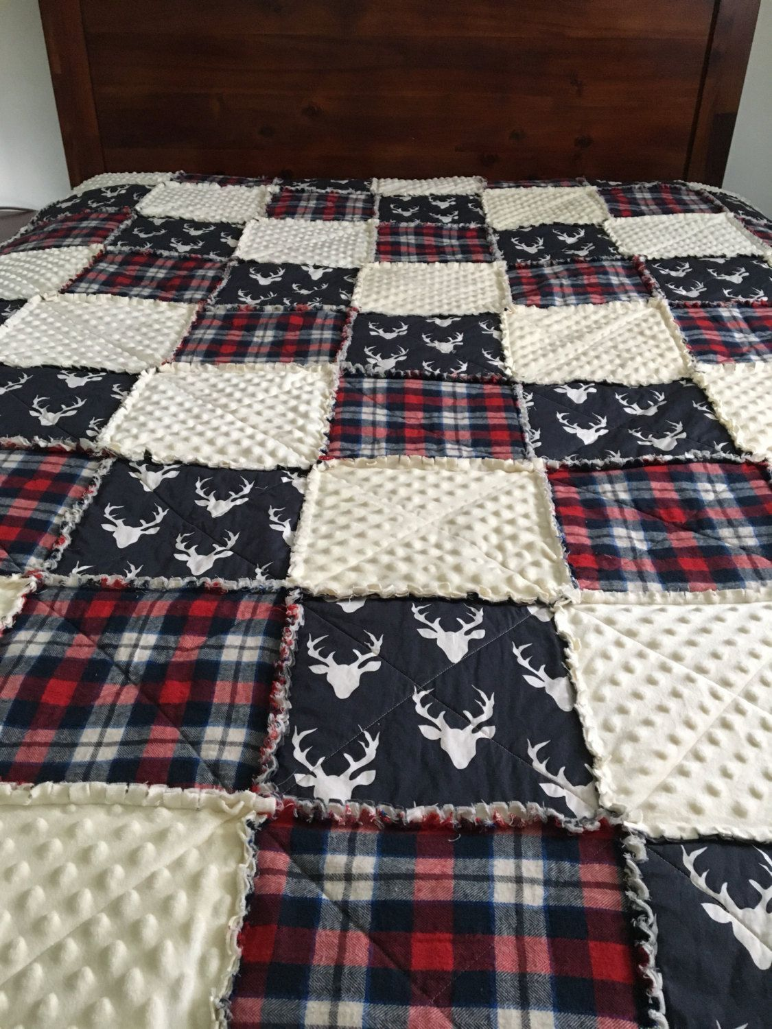 Photo of This item is unavailable :  Baby Boy Rag Quilt Plaid Rag Quilt Deer Rag by Stitc…