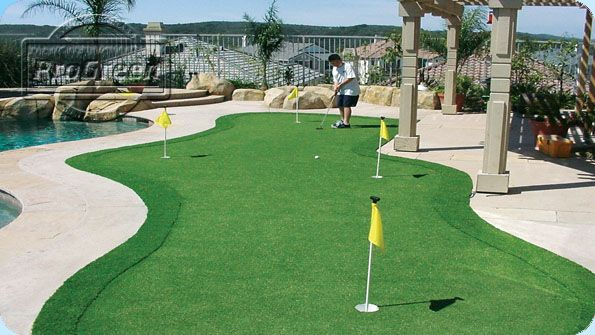 Beautiful, Poolside Backyard Putting Green   Is There A Better Way To  Practice You Game