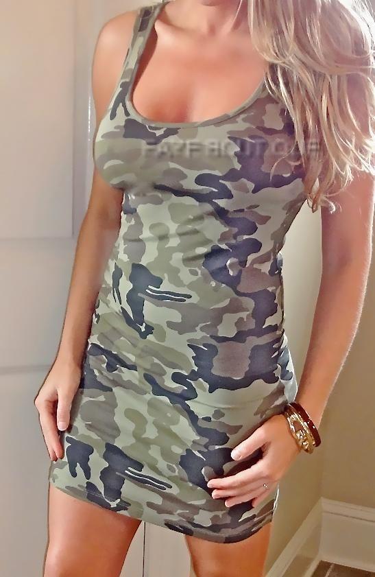322feac4242d7 CAMO CAMOUFLAGE Print Tight Sexy stretch Bodycon TANK Short Club Mini Dress  #NEW #StretchBodycon #Clubwear