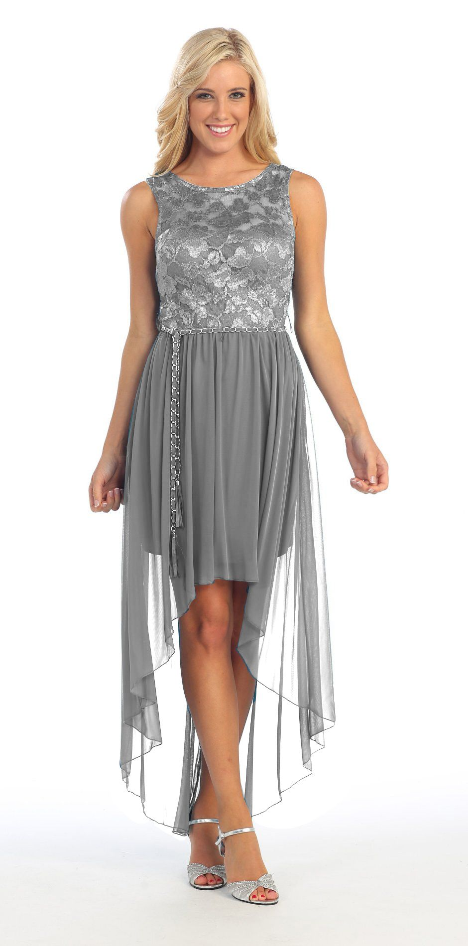 Bridesmaid high low silver dress lace top wide strap illusion neck