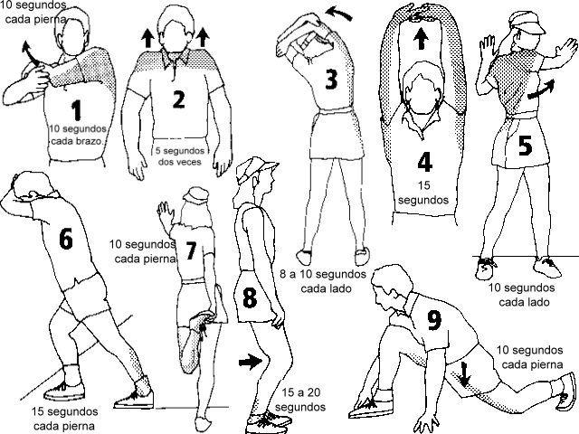 20 ejercicios de calentamiento con dibujos