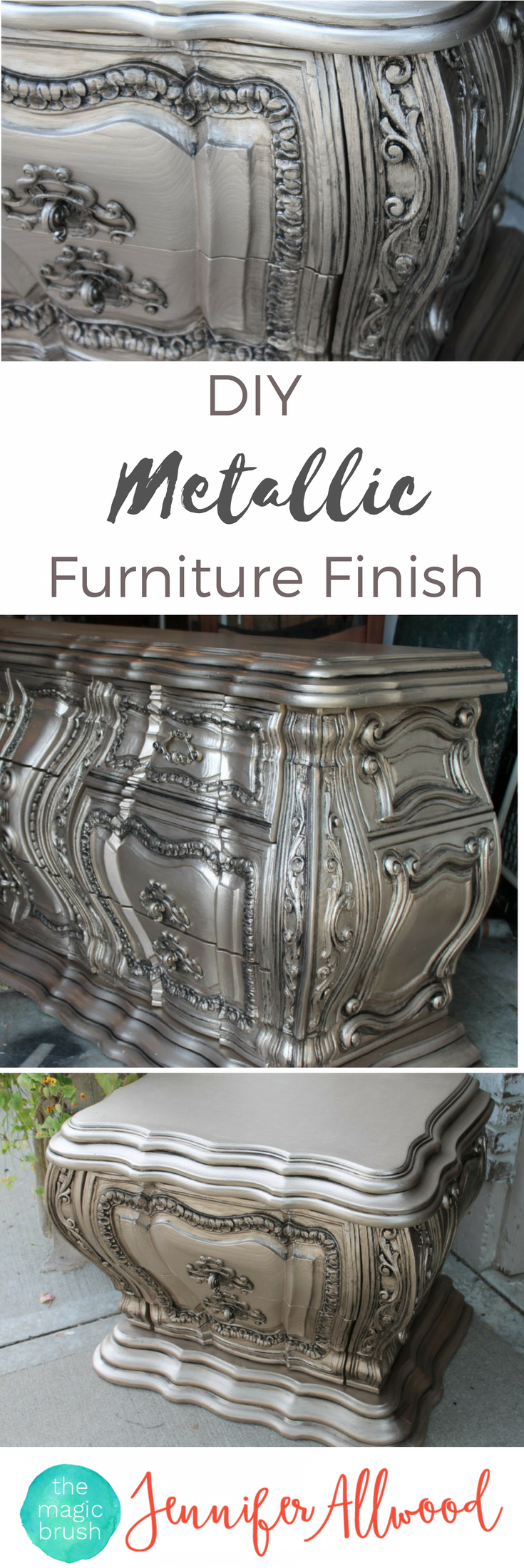 silver furniture  my most talked about finish  metallic  - how to paint metallic furniture this is a gorgeous diy silver furniturefinish that looks