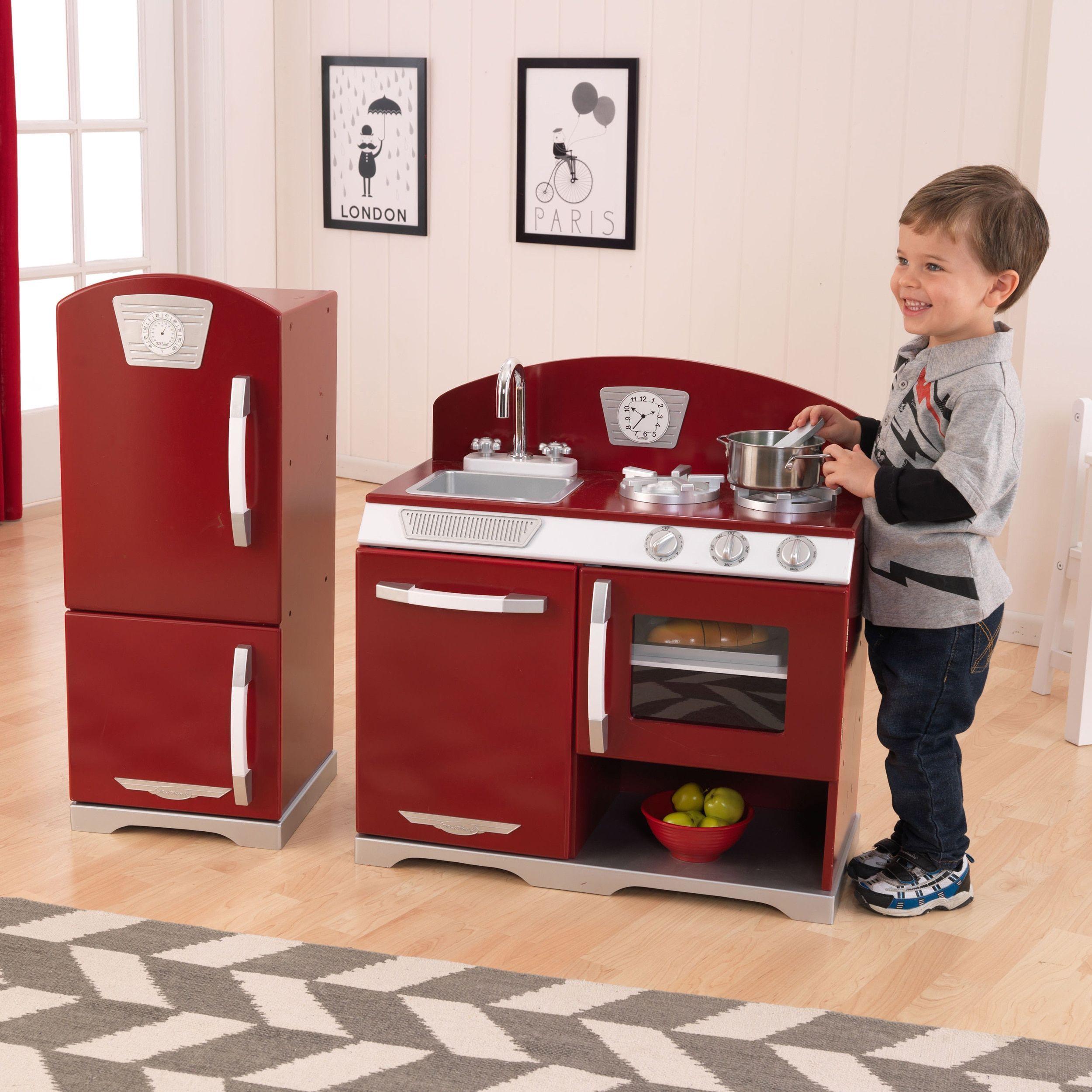 KidKraft Retro Kitchen and Refrigerator (Pink)