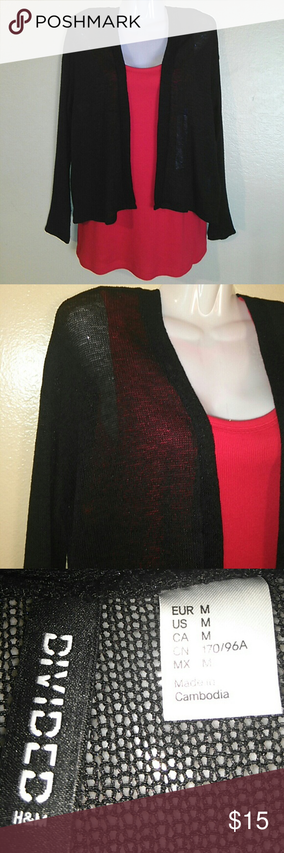 DIVIDED DRESSY SHEER CARDIGAN SIZE MEDIUM COLOR BLACK LONG SLEEVE H&M Sweaters Cardigans