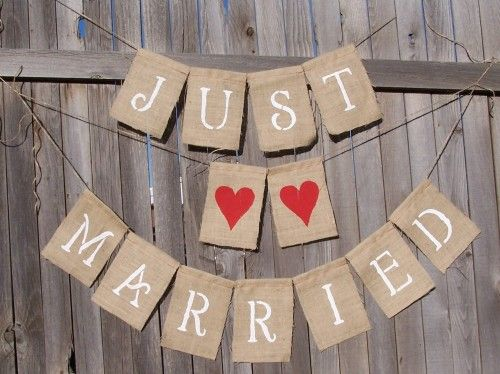 DIY Wedding Banner Make Your Own Rustic Burlap Sack Banners