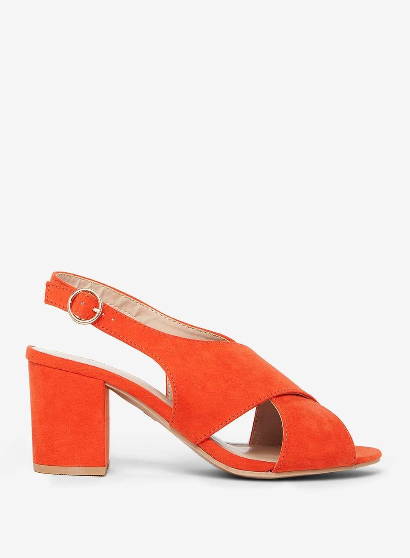 Wide fit Orange 'Simone' Heeled Sandals