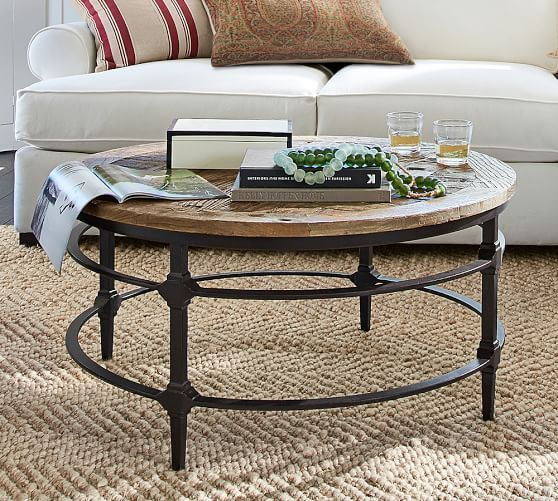 Parquet Reclaimed Wood Round Coffee Table Karkula