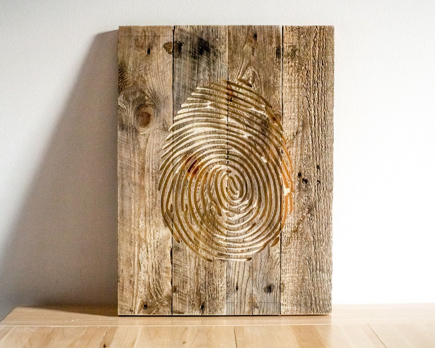 Wall Art Fingerprint Carved Wooden Wall Hanging Etsy Carved Wooden Wall Hanging Wooden Wall Hangings Wooden Walls