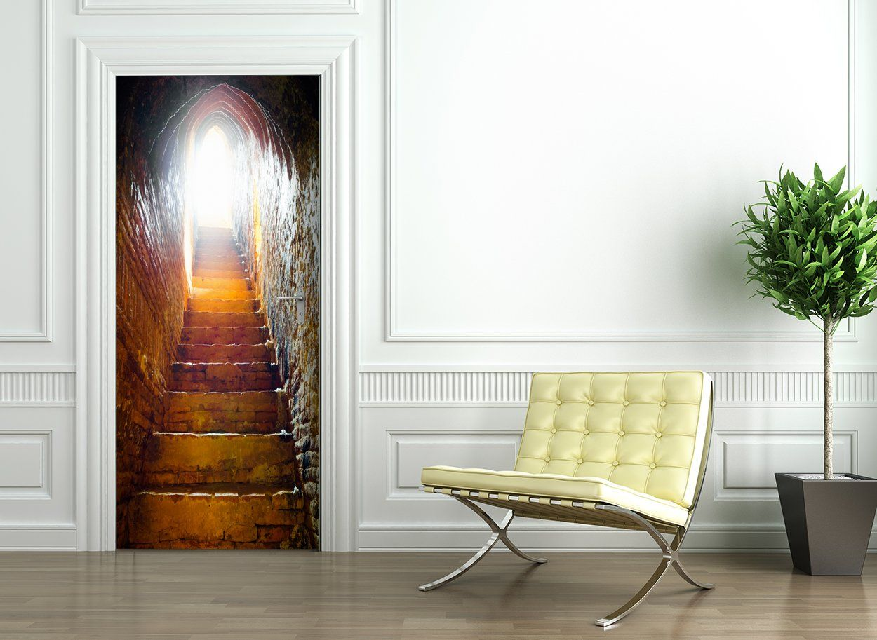 Door Wallpaper self adhesive CAVE STAIRS Amazon.co.uk