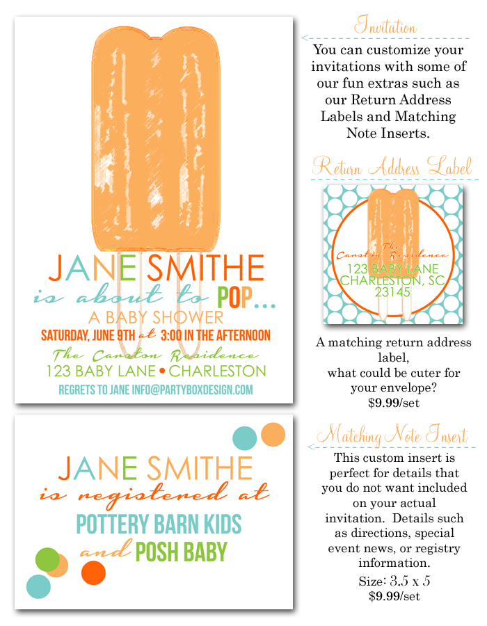 boy baby shower invites, about to POP invites, popsicle party ...